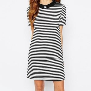 Asos Warehouse Brand Striped Contrast Collar Dress
